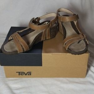Teva W Ventura Cork Wedge Leather Sandals